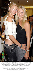 Left to right, Model JODIE KIDD and her sister JEMMA KIDD at a party in London on 10th September 2002.PDD 146