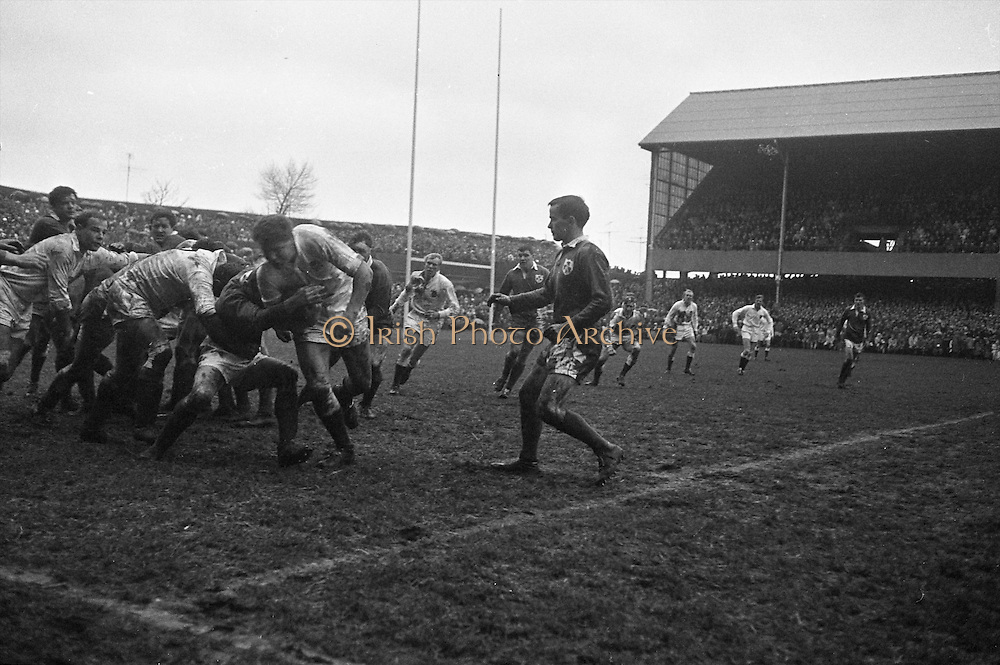 Davis, with the ball, breaks away from a loose maul, but it is knocked out of his hands by an Irish forward,..Irish Rugby Football Union, Ireland v England, Five Nations, Landsdowne Road, Dublin, Ireland, Saturday 9th February, 1963,.9.2.1963, 2.9.1963,..Referee- H B Laidlaw, Scottish Rugby Union, ..Score- Ireland 0 - 0 England, ..Irish Team, ..B D E Marshall, Wearing number 15 Irish jersey, Full Back, Queens University Rugby Football Club, Belfast, Northern Ireland,..W R Hunter, Wearing number 14 Irish jersey, Right Wing, C I Y M S Rugby Football Club, Belfast, Northern Ireland, ..J C Walsh,  Wearing number 13 Irish jersey, Right Centre, University college Cork Football Club, Cork, Ireland,..P J Casey, Wearing number 12 Irish jersey, Left Centre, University College Dublin Rugby Football Club, Dublin, Ireland, ..N H Brophy, Wearing number 11 Irish jersey, Left wing, Blackrock College Rugby Football Club, Dublin, Ireland, ..M A English, Wearing number 10 Irish jersey, Stand Off, Landsdowne Rugby Football Club, Dublin, Ireland, ..J C Kelly, Wearing number 9 Irish jersey, Scrum Half, University College Dublin Rugby Football Club, Dublin, Ireland,..R J McLoughlin, Wearing number 1 Irish jersey, Forward, Blackrock College Rugby Football Club, Dublin, Ireland, ..A R Dawson, Wearing number 2 Irish jersey, Forward, Wanderers Rugby Football Club, Dublin, Ireland, ..S Millar, Wearing number 3 Irish jersey, Forward, Ballymena Rugby Football Club, Antrim, Northern Ireland,..W A Mulcahy, Wearing number 5 Irish jersey, Captain of the Irish team, Forward, Bective Rangers Rugby Football Club, Dublin, Ireland,  ..W J McBride, Wearing number 5 Irish jersey, Forward, Ballymena Rugby Football Club, Antrim, Northern Ireland,..E P McGuire, Wearing number 6 Irish jersey, Forward, University college Galway Football Club, Galway, Ireland,..C J Dick, Wearing number 8 Irish jersey, Forward, Ballymena Rugby Football Club, Antrim, Northern Ireland,..M D Kiely, Wearing number 7 Irish jersey, For
