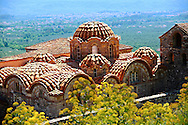 The exterior of the Byzantine Metropolis Church , Mystras ,  Sparta, the Peloponnese, Greece. A UNESCO World Heritage Site .<br /> <br /> Visit our GREEK HISTORIC PLACES PHOTO COLLECTIONS for more photos to download or buy as wall art prints https://funkystock.photoshelter.com/gallery-collection/Pictures-Images-of-Greece-Photos-of-Greek-Historic-Landmark-Sites/C0000w6e8OkknEb8 <br /> .<br /> <br /> Visit our BYZANTINE ART PHOTO COLLECTION for more   photos  to download or buy as prints https://funkystock.photoshelter.com/gallery-collection/Roman-Byzantine-Art-Artefacts-Antiquities-Historic-Sites-Pictures-Images-of/C0000lW_87AclrOk