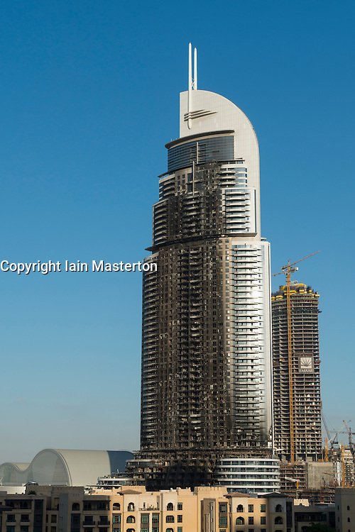 Dubai, United Arab Emirates, January 7, 2015.  View of the gutted facade of The Address Hotel after fire ravaged the building on New Year's Eve 2015. Inspection and repairs have started and the Hotel is planned to be fully repaired and reopened.