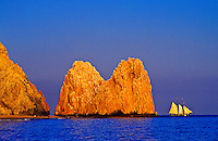 A sailing ship off Land's End at the confluence of the Sea of Cortes and Pacific Ocean, Cabo San Lucas, Los Cabos,  Baja California, Mexico