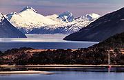 Yacht anchored Caleta Olla, looking down Beagle channel, Isla Grande, Tierra del Fuego, Chile