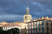 Traditional architecture and bell tower of church in Segovia, Spain