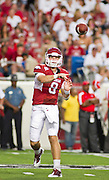 Sep 10, 2011; Little Rock, AR, USA; Arkansas Razorback quarterback Tyler Wilson (8) makes. a pass during the first half of a game against the New Mexico Lobos at War Memorial Stadium.  Mandatory Credit: Beth Hall-US PRESSWIRE
