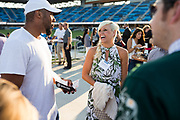 Courtney Meadows of Stanford University socializes during the Silicon Valley Business Journal 40 Under 40 event at Avaya Stadium in San Jose, California, on July 31, 2018. (Stan Olszewski for Silicon Valley Business Journal)