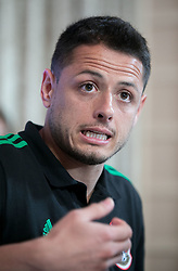 May 25, 2018 - Los Angeles, California, U.S - Javier ''Chicharito'' Hernandez of Mexico's World Cup squad responds to questions from journalists during Mexico Media Day on Friday May 25, 2018 in Beverly Hills, California ahead a pre-World Cup soccer friendly against Wales in Pasadena on May 28. (Credit Image: © Prensa Internacional via ZUMA Wire)