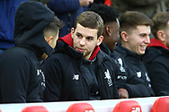 Liverpool player Jon Flanagan © looks on from the bench. Premier League match, Liverpool v Leicester City at the Anfield stadium in Liverpool, Merseyside on Saturday 30th December 2017.<br /> pic by Chris Stading, Andrew Orchard sports photography.