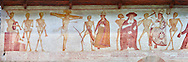 """The Church of San Vigilio in Pinzolo and its fresco paintings """"Dance of Death"""" painted by Simone Baschenis of Averaria in1539, Pinzolo, Trentino, Italy.<br /> <br /> The mural continues for another 21 meters with a long procession with 40 figures. The Mural opens on its left with a skeleton on the throne, bearing a sceptre and the crown and playing a bagpipe. These skeletons are playing the music which is the backdrop to """"Dance of Death"""" ( Danza macabra ) and suggests that they are playing with our fate on earth.<br /> <br />  To the right of the skeletons playing music is a depiction of the crucification. Christ is depicted on the cross with an arrow in him that has been fired by a skeleton with a bow. This suggests that because Christ was a man he suffered the fate of death as we all will. .<br /> <br /> Visit our MEDIEVAL ART PHOTO COLLECTIONS for more   photos  to download or buy as prints https://funkystock.photoshelter.com/gallery-collection/Medieval-Middle-Ages-Art-Artefacts-Antiquities-Pictures-Images-of/C0000YpKXiAHnG2k<br /> If you prefer to buy from our ALAMY PHOTO LIBRARY  Collection visit : https://www.alamy.com/portfolio/paul-williams-funkystock/san-vigilio-pinzolo-dance-of-death.html"""