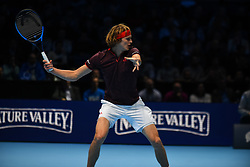 November 12, 2017 - London, England, United Kingdom - Alexander Zverev of Germany plays against Marin Cilic of Croatia during the Nitto ATP World Tour Finals at O2 Arena, London on November 12, 2017. (Credit Image: © Alberto Pezzali/NurPhoto via ZUMA Press)