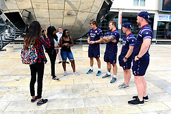 Bristol rugby players speak with fans as the Bristol Rugby team support Bristol City Council's Clean Streets campaign on Mandela Day by helping cleaning the streets at Millennium Square - Mandatory by-line: Dougie Allward/JMP - 18/07/2017 - FOOTBALL - Millennium Square - Bristol, England - Mandella Day Bristol Rugby