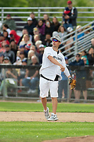 KELOWNA, CANADA - JUNE 28: NHL Montreal Canadiens goalie Carey Price throws the ball at first base during the opening charity game of the Home Base Slo-Pitch Tournament fundraiser for the Kelowna General Hospital Foundation JoeAnna's House on June 28, 2019 at Elk's Stadium in Kelowna, British Columbia, Canada.  (Photo by Marissa Baecker/Shoot the Breeze)