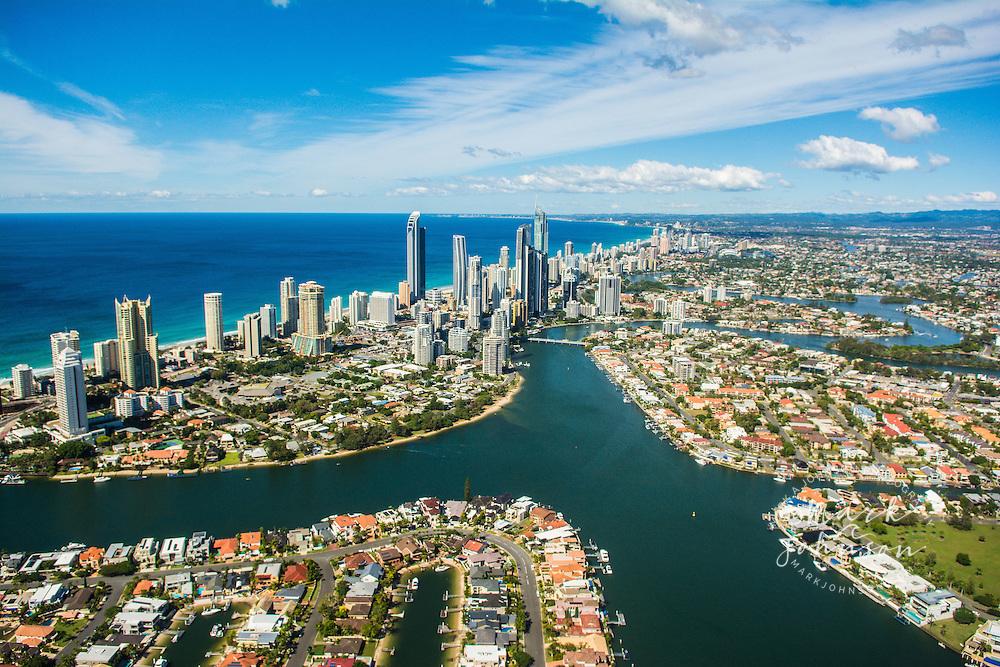 Aerial of the Surfers Paradise skyline, Gold Coast, Queensland, Australia