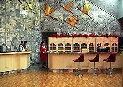 Pyongyang, North Korea, April/May 2004. Hotel bar in Pyongyang, the posh Yanggakdo Hotel. (Photo by Teun Voeten) *** Please Use Credit from Credit Field ***