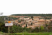 Minerve village Minervois. Languedoc. Road sign with the name of the village. France. Europe.