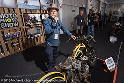 The Race of Gentlemen's Mel Stultz talks with other bike builders about his bike on display at the Invitational Bike Show at the Harley-Davidson Museum during the Milwaukee Rally. Milwaukee, WI, USA. Saturday, September 3, 2016. Photography ©2016 Michael Lichter.