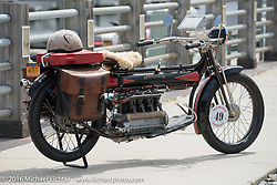 Frank Westfall's 4-cylinder 1912 Henderson class-2 bike before the start of the Motorcycle Cannonball Race of the Century Run. Atlantic City, NJ, USA. September 9, 2016. Photography ©2016 Michael Lichter.