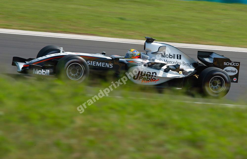 Juan-Pablo Montoya (McLaren-Mercedes) during practice for the 2005 Hungarian Grand Prix at the Hungaroring. Photo: Grand Prix Photo