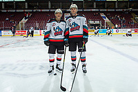 KELOWNA, BC - JANUARY 11: Pavel Novak #11 and Jonas Peterek #27 of the Kelowna Rockets, both from the Czech Republic, play their first game together against the Kamloops Blazers at Prospera Place on January 11, 2020 in Kelowna, Canada. (Photo by Marissa Baecker/Shoot the Breeze)