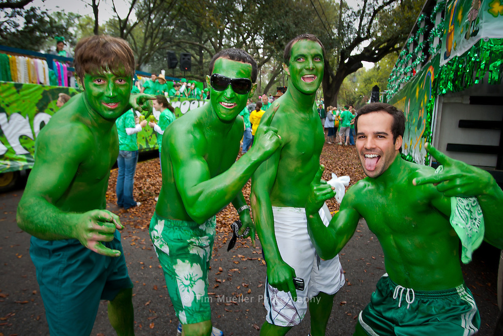 Wear'in the Green St. Patrick's Day parade participants party along Hundred Oaks Avenue in Baton Rouge.