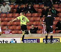 Photo: Mark Stephenson/Sportsbeat Images.<br /> Stoke City v Sheffield United. Coca Cola Championship. 10/11/2007.Sheffield's Gary Carhill celebrates his goal