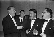 26/01/1963<br /> 01/26/1963<br /> 26 January 1963<br /> Rochestown P.P.U. Annual Dinner at Powers Hotel, Dublin. Chatting before the Past Pupils Union dinner were (l-r): Denis O'Riordan; Frank Shanahan; John Murphy and Michael Kelly.