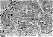 """Ackroyd 00586-1. aerials. March 10, 1948"""" UP roundhouse on east side of river"""