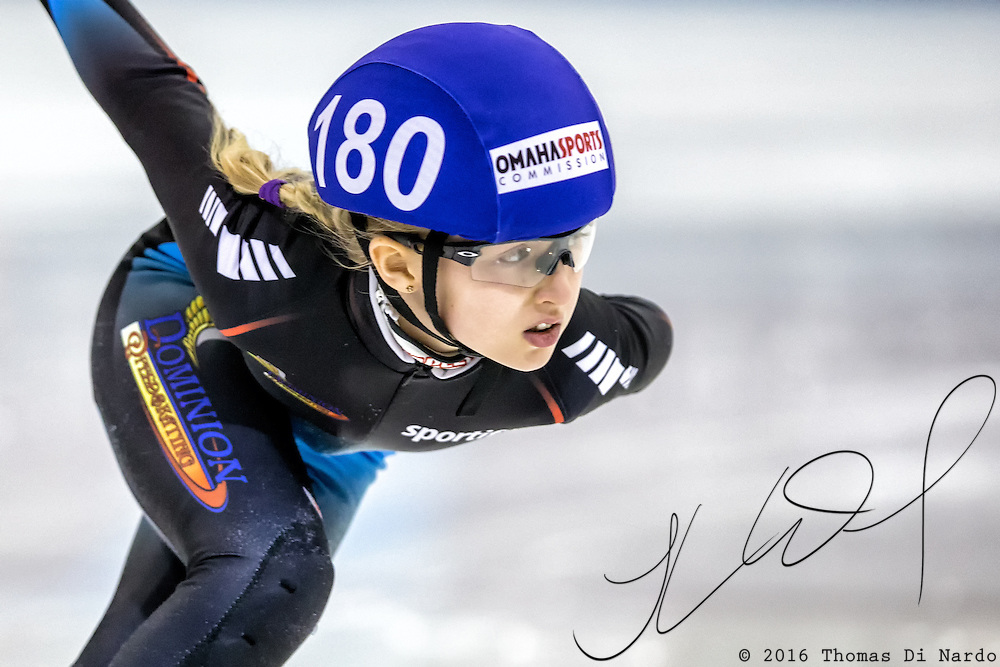 March 17, 2013 - Omaha, NE - Skater competes in the Short Track Age Group Nationals held at the Moylan Arena.