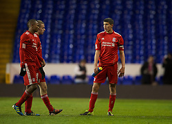 LONDON, ENGLAND - Wednesday, February 1, 2012: Liverpool's captain Conor Coady looks dejected after losing 1-0 to Tottenham Hotspur during the NextGen Series Quarter-Final match at White Hart Lane. (Pic by David Rawcliffe/Propaganda)