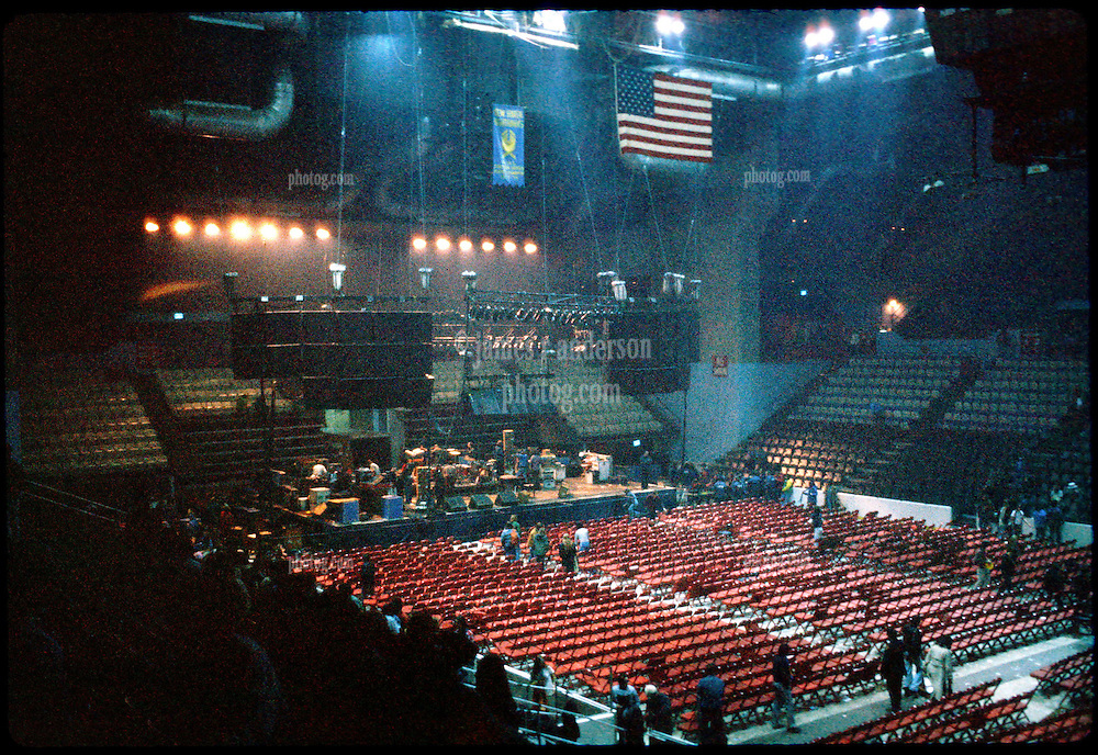 Inside The New Haven Coliseum before the Grateful Dead perform Live on 1 January 1979