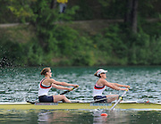Bled, SLOVENIA,  GBR W2-, Bow, Olivia WHITLAM and Louisa REEVE, on the second day of the FISA World Cup, Bled. Held on Lake Bled.  Saturday  29/05/2010  [Mandatory Credit Peter Spurrier/ Intersport Images] Cop last event as international level.