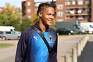 AFC Wimbledon defender Toby Sibbick (20) arriving during the EFL Sky Bet League 1 match between AFC Wimbledon and Portsmouth at the Cherry Red Records Stadium, Kingston, England on 13 October 2018.