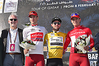 Podium, Brian COOKSON (Gbr) UCI President, CAVENDISH Mark (GBR) Dimension Data, Yellow Gold Leader Jersey, BYSTROM Sven Erik (NOR) Katusha, White Young Jersey,  KRISTOFF Alexander (NOR) Katusha, during the 15th Tour of Qatar 2016, Stage 2, Qatar University - Qatar University (145,5Km), Test Event Doha Road World Championships 2016, on February 9, 2016 - Photo Tim de Waele / DPPI