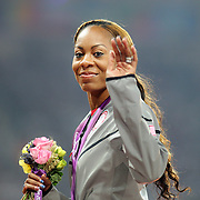 Sanya Richards-Ross, USA, celebratesThe USA Women's 4 x 400 relay team winning the Gold Medal at the Olympic Stadium, Olympic Park, during the London 2012 Olympic games. London, UK. 11th August 2012. Photo Tim Clayton