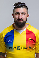 CLUJ-NAPOCA, ROMANIA, FEBRUARY 27: Romania's national rugby player Florin Vlaicu pose for a headshot, on February 27, 2018 in Cluj-Napoca, Romania. (Photo by Mircea Rosca/Getty Images)