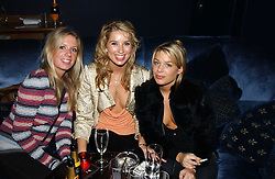 Left to right, MISS LUCINDA COOKE, MISS ALEX FINLAY and MISS WILLA KESWICK at a party hosted by Tatler magazine to celebrate the publication of the 2004 Little Black Book held at Tramp, 38 Jermyn Street, London SW1 on 10th November 2004.<br />
