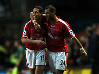 Photo: Javier Garcia/Back Page Images<br />Charlton Athletic v Arsenal, FA Barclays Premiership, The Valley 01/01/2005<br />Talal El Karkouri, left, celebrates his goal with Jonathan Fortune