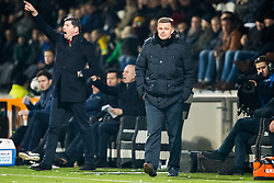 (L-R) coach Erwin van de Looi of Willem II, coach John Stegeman of Heracles Almelo during the Dutch Eredivisie match between Heracles Almelo and Willem II Tilburg at Polman stadium on February 10, 2018 in Almelo, The Netherlands