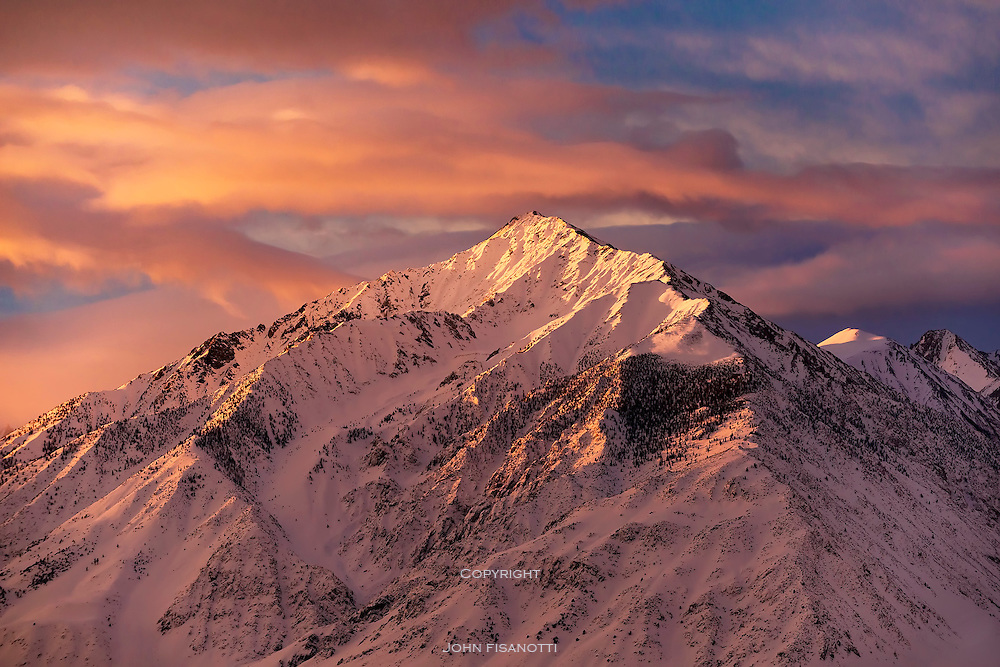 Winter sunrise on Mt. Tom, Eastern Sierra Nevada, California