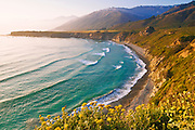 Evening light on Sand Dollar Beach and the Santa Lucia Range, Los Padres National Forest, Big Sur, California