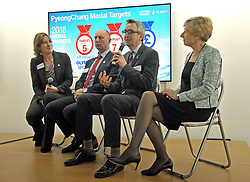 (left to right) UK Sport chair Dame Katherine Grainger, Team GB Chef de Mission Mike Hay, British Paralympics Association CEO Tim Hollingsworth and UK Sport Chief Executive Liz Nicholl, during the press conference to announce the UK Sport medal target for the Winter Olympics and Paralympics at the Korean Cultural Centre UK in London.