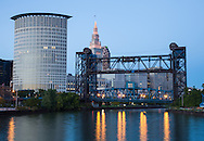 Cleveland skyline at dusk from the river