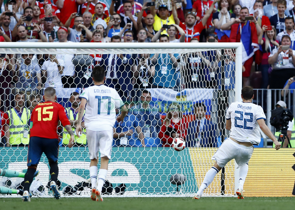 July 1, 2018 - Moscow, Russia - Round of 16 Russia v Spain - FIFA World Cup Russia 2018.Artem Dzyuba (Russia) scoring the penalty of 1-1 at Luzhniki Stadium in Moscow, Russia on July 1, 2018. (Credit Image: © Matteo Ciambelli/NurPhoto via ZUMA Press)