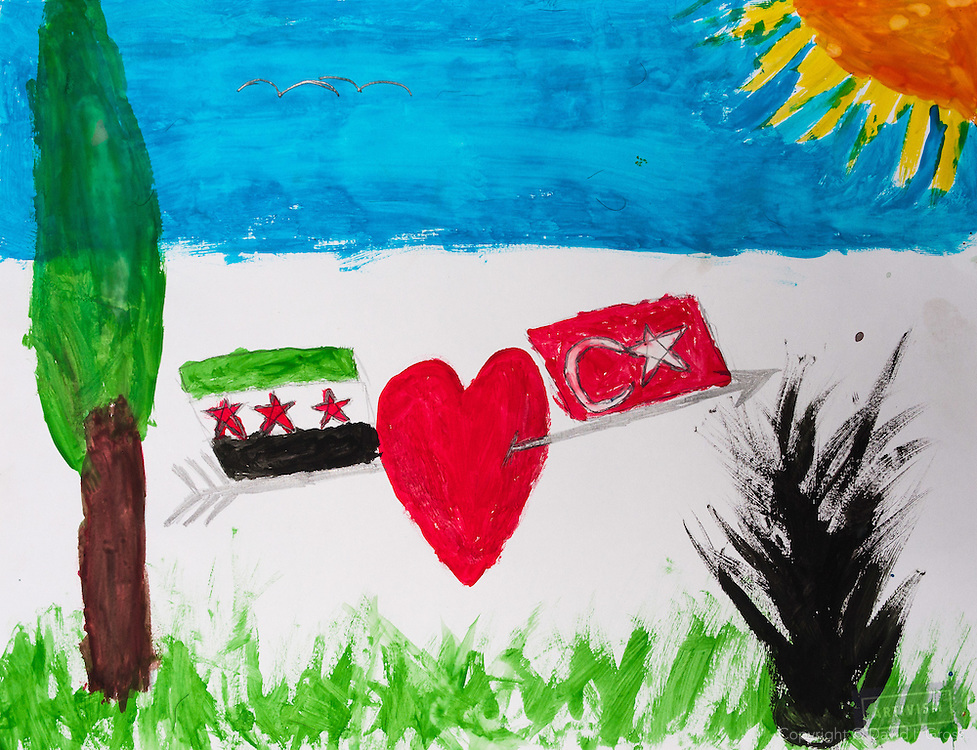 """""""Turkey is the only nation to help us. We are grateful to them."""" Drawing by 10-12 yr old boy, from art session with the neighborhood boys--not from the school. Topic for session: what do you dream about or hope for?"""