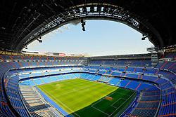 THEMENBILD, ESTADIO SANTIAGO BERNABEU, es ist das Fußballstadion des spanischen Vereins Real Madrid. Es liegt im Zentrum der Stadt Madrid im Viertel Chamartin. Seit der letzten Modernisierung im Jahr 2005 fasst es 80.354 Zuschauer und ist seit 14. November 2007 als UEFA-Elite-Stadion ausgezeichnet, der hoechsten Klassifikation des Europaeischen Fußballverbandes. Das Stadion wurde am 14. Dezember 1947 als Nuevo Estadio Chamartin mit 75.000 Plaetzen offiziell eroeffnet. Am 14. Januar 1955 stimmte die Mitgliederversammlung des Klubs für die Umbenennung des Stadions zu Ehren des damaligen Vereinspraesidenten Santiago Bernabeu, nach dessen Vision die Spielstaette gebaut wurde. Im Bild das Spielfeld mit Tribuenen. Bild aufgenommen am 27.03.2012. EXPA Pictures © 2012, PhotoCredit: EXPA/ Eibner/ Michael Weber..***** ATTENTION - OUT OF GER *****