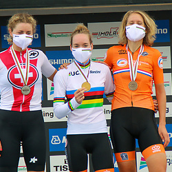 26-09-2020: wielrennen: WK weg vrouwen: Imola<br /> Anna van der Breggen (Netherlands) takes the time trail world title. Silver Marlen Reusser (Switzerland) and bronze Ellen van Dijk (Netherlands)