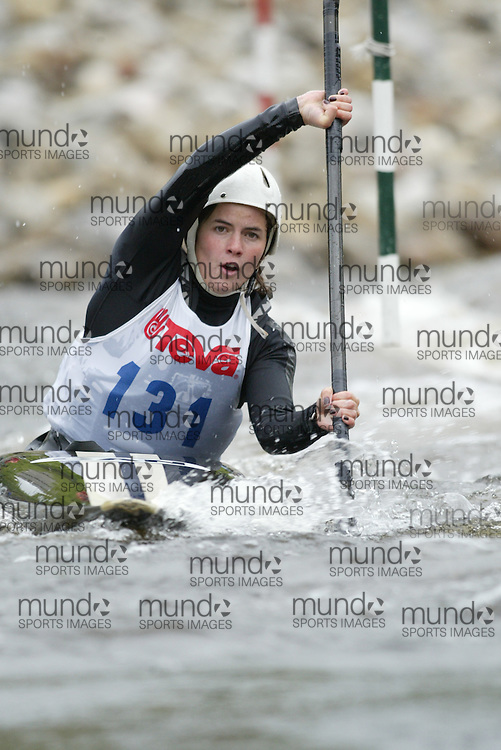 (Ottawa, Ontario---29/05/09)  Anna WILLIAMS competing in the second run of the  K1  Women class at the 2009 Canadian Whitewater Slalom National Team Trials.. The CanoeKayak Canada championship race for canoes and kayaks was held at the Pump House course in Ottawa and was hosted by the Ottawa River Runners. The event ran from 29-31 May 2009. Copyright photograph Sean Burges / Mundo Sport Images, 2009. www.mundosportimages.com / www.msievents.
