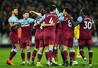 Football - 2019 / 2020 Premier League - West Ham United vs. Arsenal<br /> <br /> West Ham United's Angelo Ogbonna (hidden) celebrates scoring the opening goal, at The London Stadium.<br /> <br /> COLORSPORT/ASHLEY WESTERN
