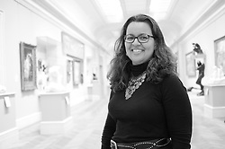 """Aimee Dixon of Education was photographed for Connections - """"Black"""" - European Sculpture Gallery 2nd Floor, Rodin. © 2010 MMA photographed by Jackie Neale Chadwick.Media_2010_142_0105_02_BW.tif."""