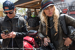 Anthony Paggio and Iron Lilly Leticia Cline at the Broken Spoke Saloon during Daytona Beach Bike Week. FL. USA. Tuesday, March 14, 2017. Photography ©2017 Michael Lichter.