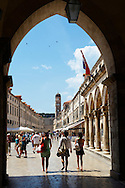 Stock photos of Placa (Stradum) - Main street in Dubrovnik  looking through main gate towards the Bell tower - Croatia .<br /> <br /> Visit our MEDIEVAL PHOTO COLLECTIONS for more   photos  to download or buy as prints https://funkystock.photoshelter.com/gallery-collection/Medieval-Middle-Ages-Historic-Places-Arcaeological-Sites-Pictures-Images-of/C0000B5ZA54_WD0s